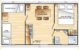 Plan Mobil Home Domino 4 personnes